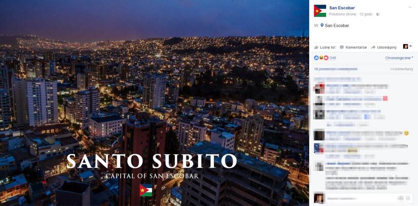 Zdjęcie przedstawiające stolicę San Escobar /San Escobar Facebook /materiały prasowe