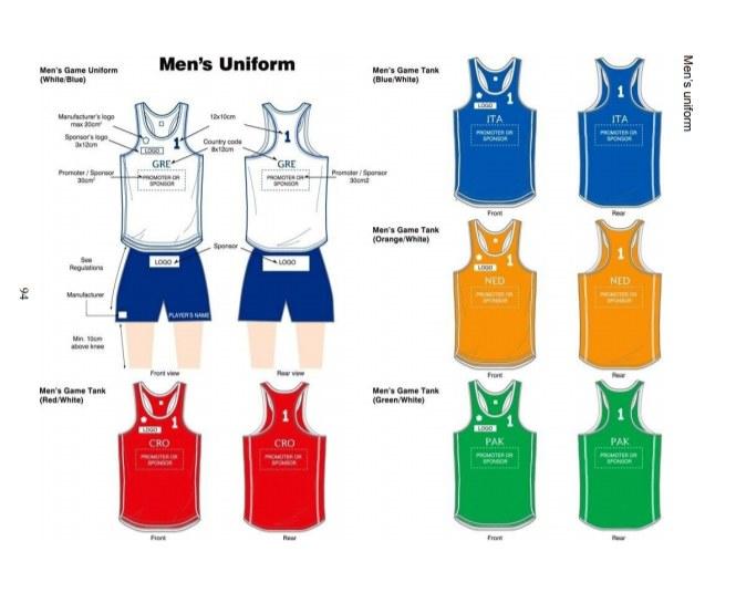 Zdjęcie przedstawiające wzorcowy męski strój w plażowej piłce ręcznej /International Handball Federation, IX. Rules of the Game, b) Beach Handball, Edition: 8 July 2014 /&nbsp
