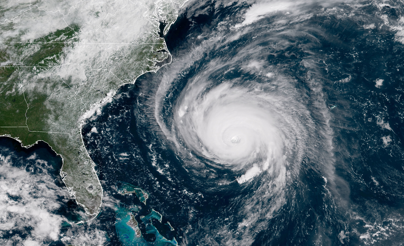 Zdjęcie satelitarne huraganu Florence /NOAA    /Getty Images