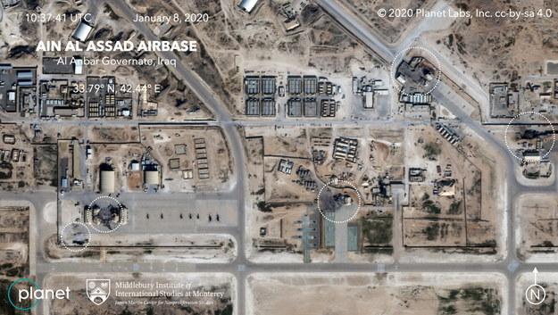 Zdjęcie satelitarne ostrzelanej z terytorium Iranu bazy lotniczej Al Asad /PLANET LABS INC./MIDDLEBURY INSTITUTE OF INTERNATIONAL STUDIES/HANDOUT /PAP/EPA