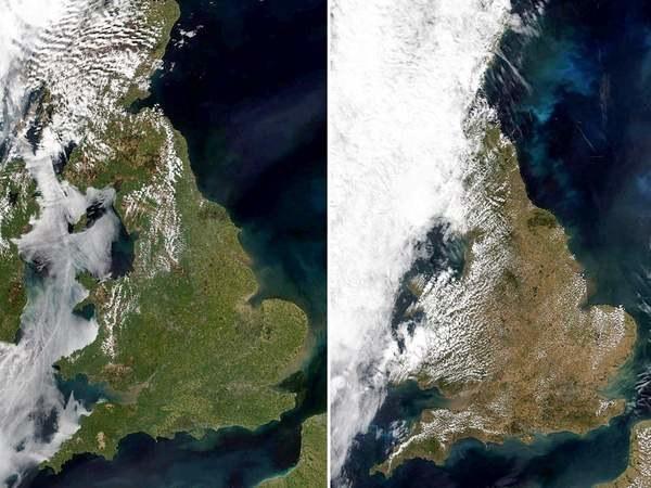 Zdjęcie satelitarne pokazuje kontrast między Wielką Brytanią zaobserwowaną w maju a obecnie (SWNS) /