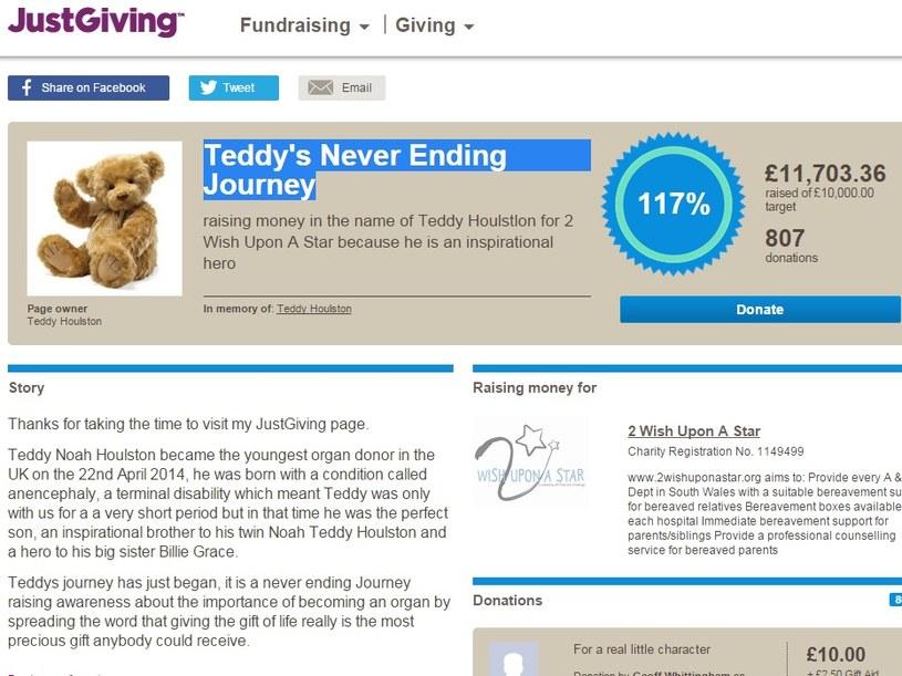 Zdjęcie strony www.justgiving.com poświęconej najmłodszemu dawcy narządów w historii /INTERIA.PL