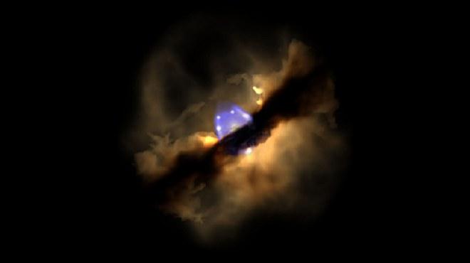 Zdjęcie z 1996 r. pokazujące kolumnę gazu o niewielkim zakresie (na niebiesko) /NASA