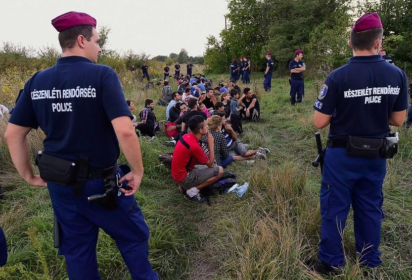 Zdjęcie z 2015 roku - węgierscy policjanci pilnują imigrantów przy granicy z Serbią /AFP