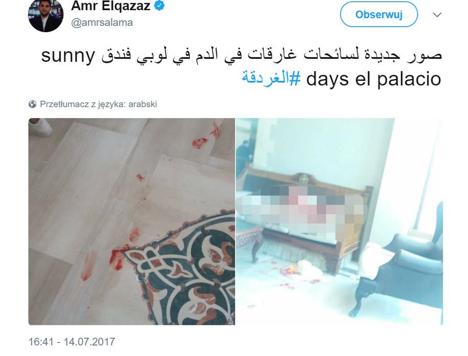 Zdjęcie z hotelu Sunny Days El Palacio w Hurghadzie, w którym nożownik zaatakował turystów. Zdjęcie opublikowane na Twitterze. /Amr Elqazaz/Twitter /Zrzut ekranu