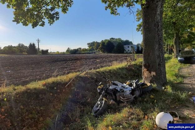 Zdjęcie z miejsca tragicznego wypadku /Policja Warmińsko-Mazurska /