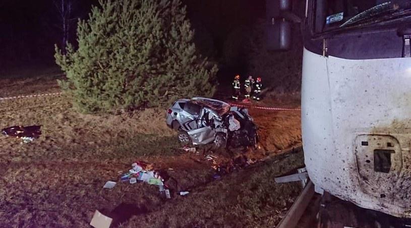 Zdjęcie z miejsca wypadku fot. OSP Zamienie /Facebook /