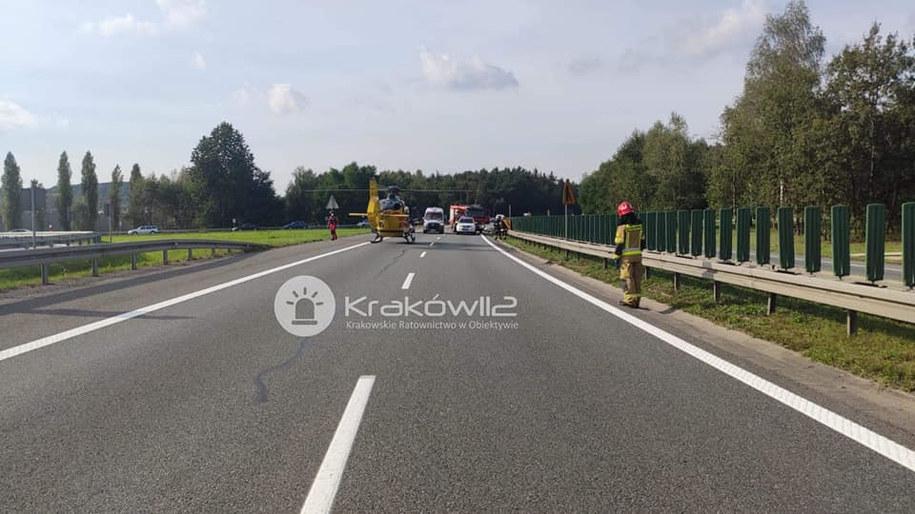 Zdjęcie z miejsca wypadku opublikowane przez Kraków112 /Kraków112 /