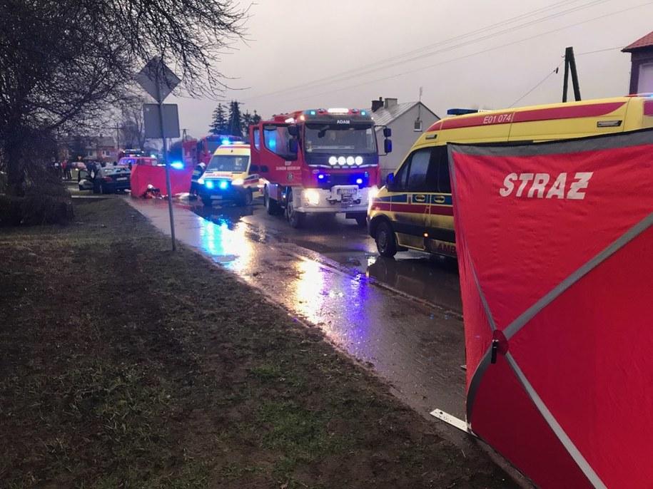 Zdjęcie z miejsca wypadku /KP PSP w Łowiczu /
