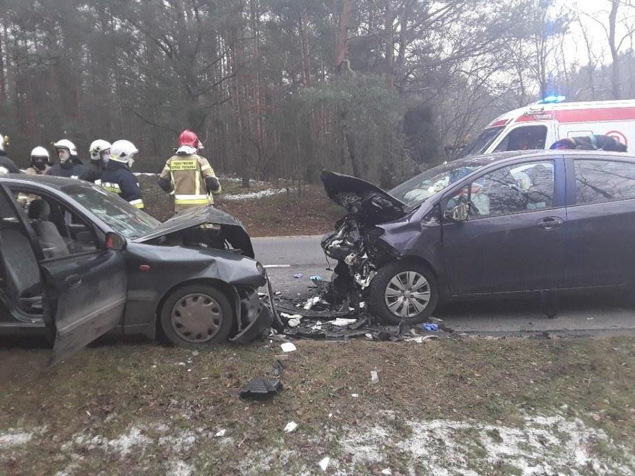 Zdjęcie z miejsca wypadku /KM PSP w Piotrkowie Trybunalskim /