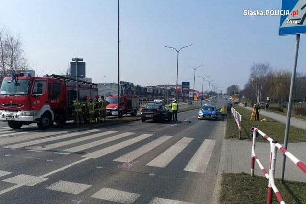 Zdjęcie z miejsca wypadku /foto. KMP Żory /