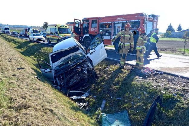 Zdjęcie z miejsca wypadku /KM PSP w Bydgoszczy /PAP