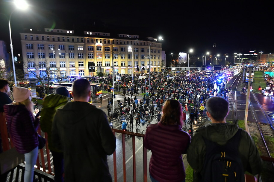 Zdjęcie z wczorajszego protestu we Wrocławiu / Maciej Kulczyński    /PAP
