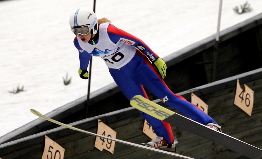 Zdobywczyni III miejsca Joanna Szwab (KS Chochołów), podczas Mistrzostw Polski kobiet w skokach narciarskich /Andrzej Grygiel   /PAP