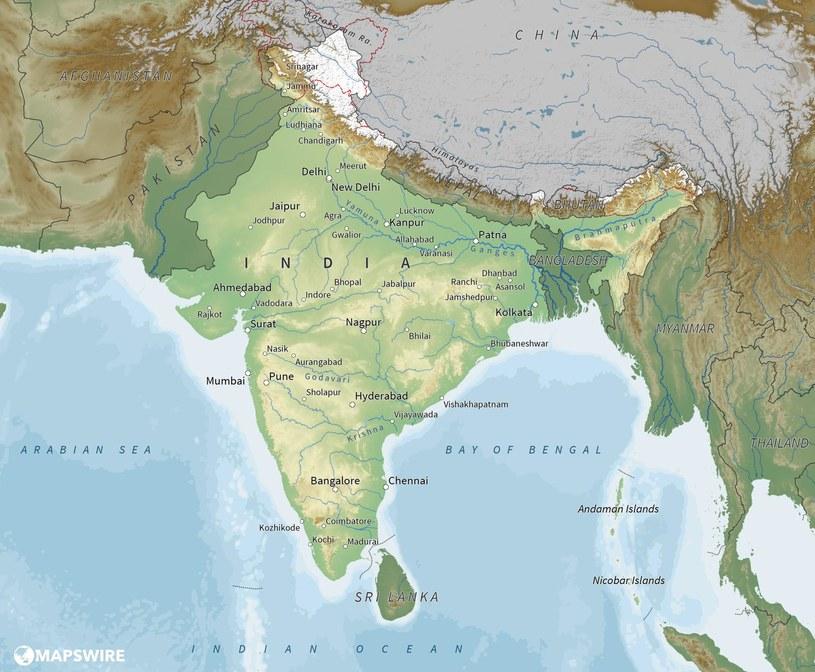 """""""Ze względów geograficznych Indie z pewnością bardziej zasługują na określenie """"kontynent"""" niż Europa"""" /mapswire.com /domena publiczna"""