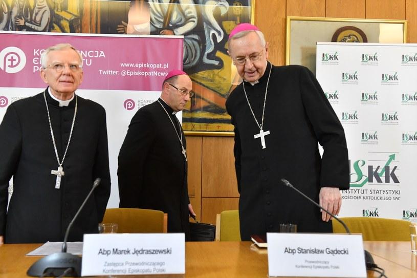 Zebranie Plenarne Konferencji Episkopatu Polski / na zdjęciu hierarchowie: Marek Jędraszewski, Stanisław Gądecki, Wojciech Polak /Reporter