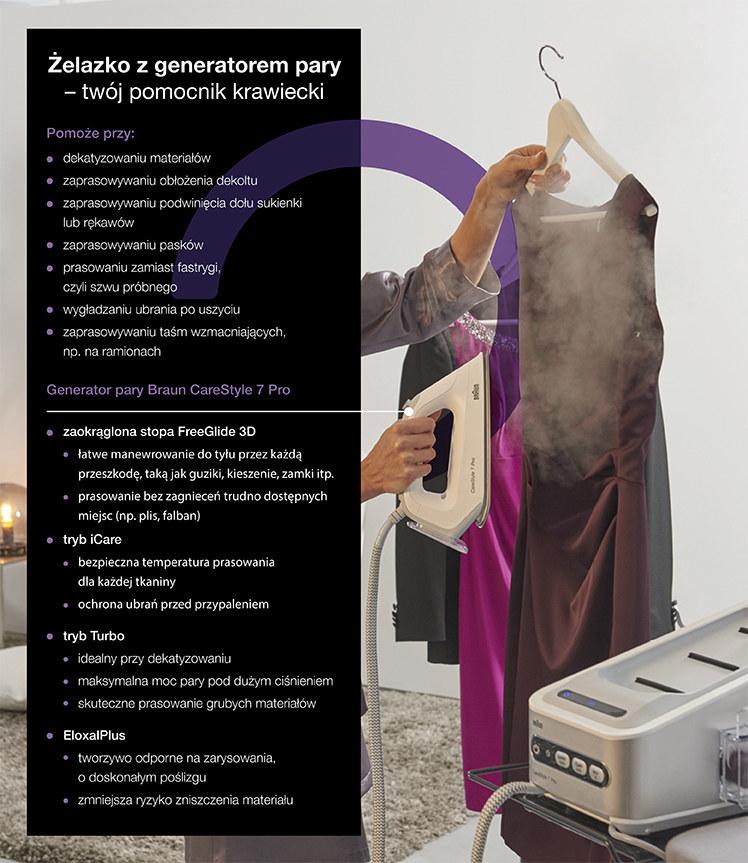 Żelazko z generatorem pary – twój pomocnik krawiecki - infografika /materiały promocyjne