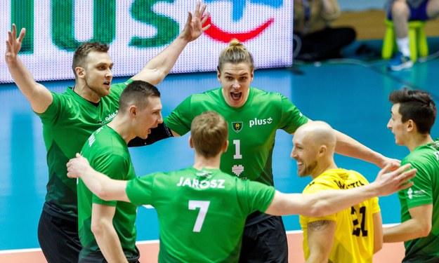 Zespół GKS-u Katowice podczas meczu PlusLigi / Andrzej Grygiel    /PAP