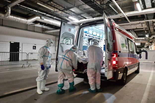 Zespół medyczny przewozi pacjenta na izbę przyjęć szpitala tymczasowego w Warszawie /Andrzej Lange /PAP