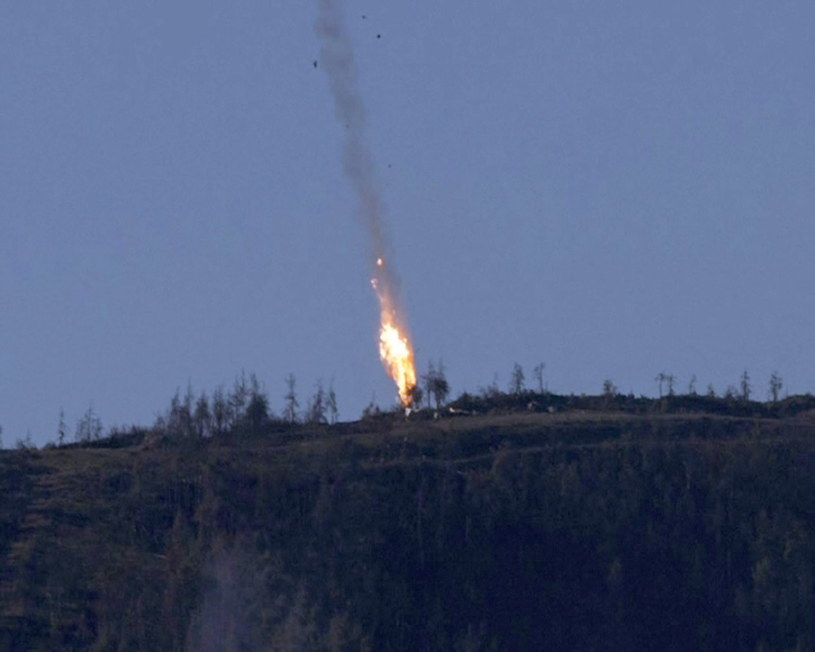 Zestrzelenie rosyjskiego samolotu wojskowego /HABERTURK TV CHANNEL /PAP/EPA