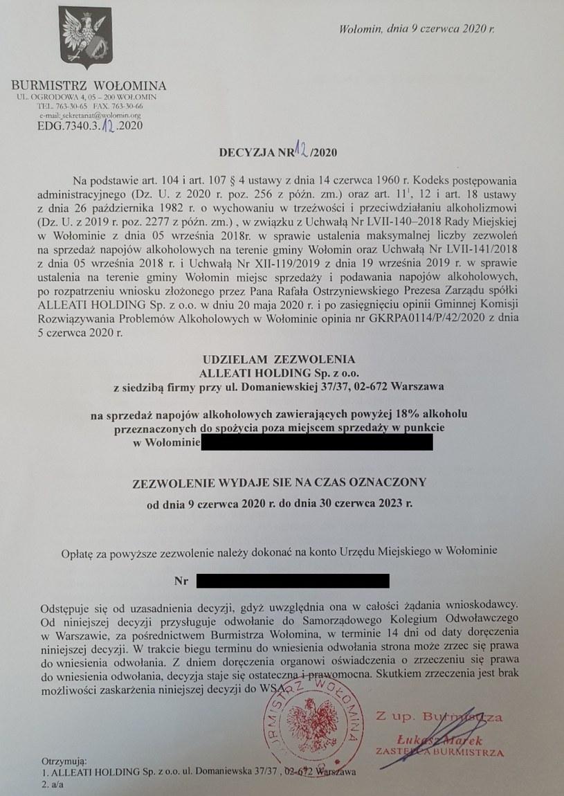 Zezwolenie na sprzedaż napojów alkoholowych powyżej 18 proc. od burmistrza Wołomina /materiał zewnętrzny