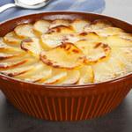 Ziemniaki z sosem serowym i szpinakiem