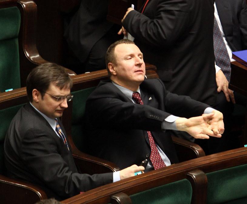 Ziobro i Kurski w Sejmie /Witold Rozbicki /Reporter