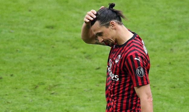 Zlatan Ibrahimovic podczas spotkania ligi włoskiej /MATTEO BAZZI    /PAP