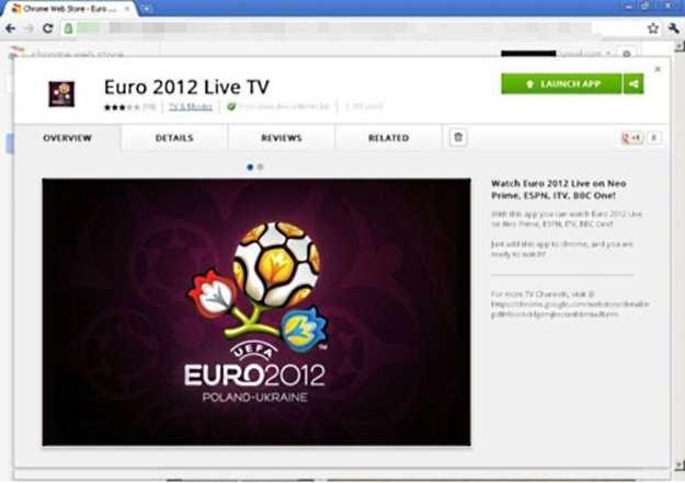 Złośliwa aplikacja Euro 2012 na stronie Chrome Web Store /materiały prasowe
