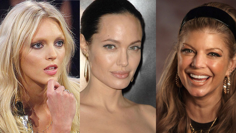 Złote, rozświetlające makijaże kochają wszystkie gwiazdy, niezależnie od koloru włosów i skóry. Na zdjęciu Anja Rubik, Angelina Jolie i Fergie /AKPA /East News