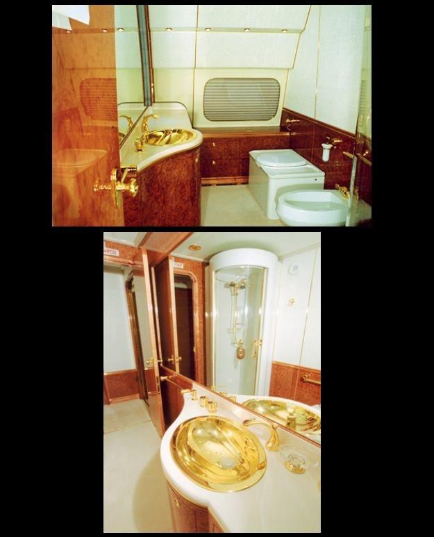Złote umywalki w samolocie Putina - zdjęcia z home-designing.com /materiały prasowe