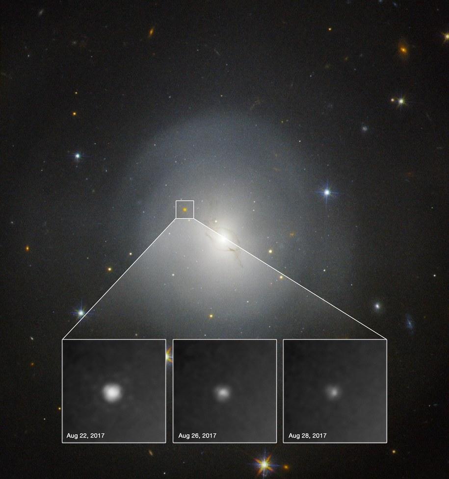 Zmiana jasności NGC 4993 podczas kolejnych obserwacji /NASA, ESA. A.J. Levan (U. Warwick), N.R. Tanvir (U. Leicester), and A. Fruchter and O. Fox (STScI) /Materiały prasowe