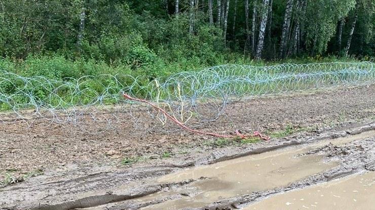 Zniszczona część zapór z drutu kolczastego na granicy z Białorusią, w okolicach wsi Szymaki /Straż Graniczna