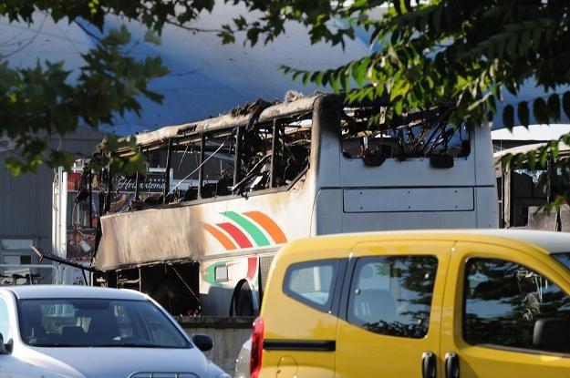 Zniszczony autobus /PAP/EPA