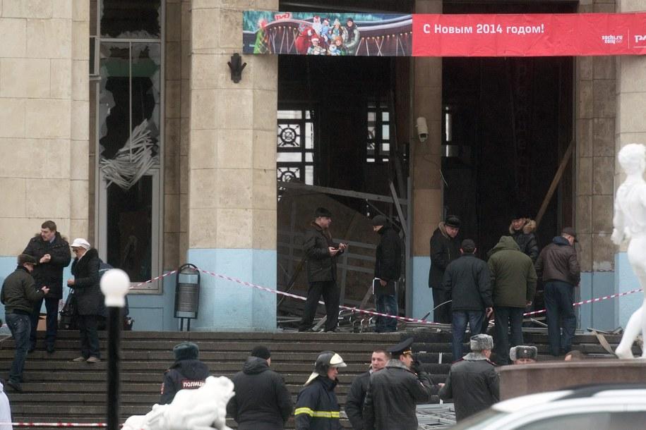 Zniszczony budynek dworca w Wołgogradzie /STR /PAP/EPA