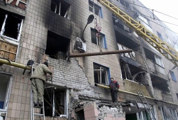 Zniszczony budynek w Doniecku /ALEXANDER ERMOCHENKO /PAP/EPA