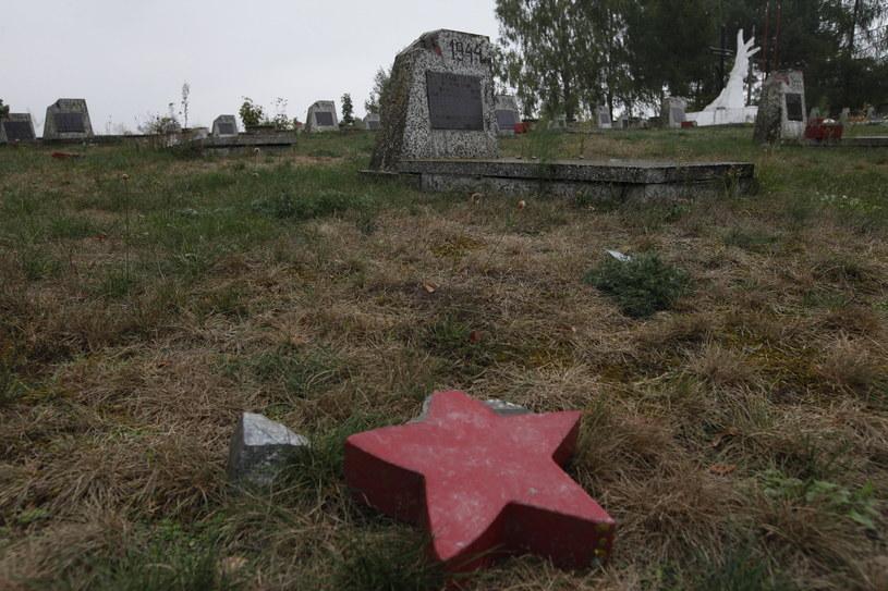Zniszczony cmentarz żołnierzy radzieckich w Milejczycach na Podlasiu /Artur Reszko /PAP