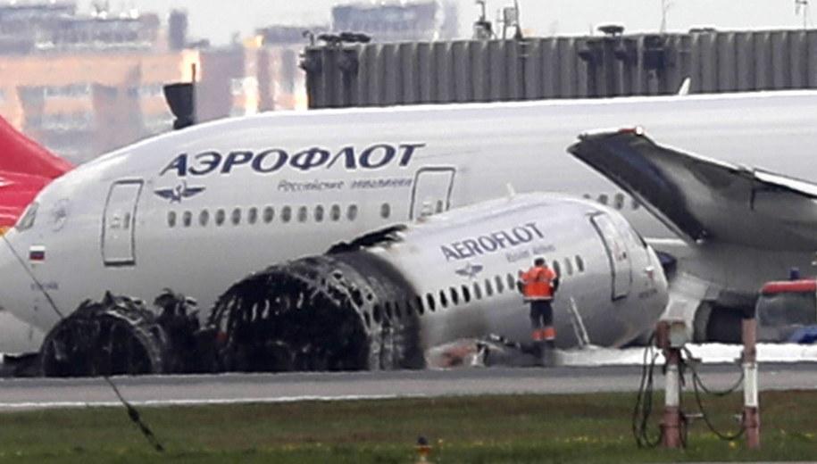 Zniszczony samolot Suchoj Superjet 100 /MAXIM SHIPENKOV    /PAP/EPA