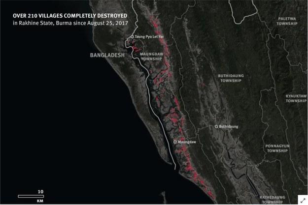 Zniszczonych zostało ponad 200 wiosek Rohingja /Human Rights Watch /Materiały prasowe