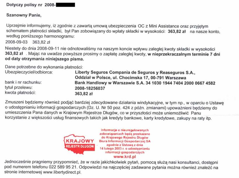 Zobacz pismo, jakie czytelnik otrzymał od firmy Liberty Direct  Kliknij /INTERIA.PL