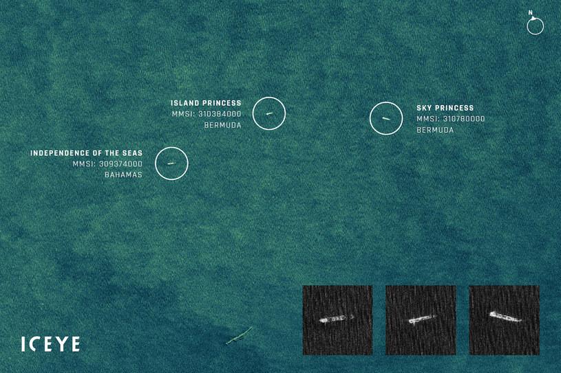 Zobrazowanie satelitarne SAR_statki z Royal Caribbean i Princess Cruise Lines, zakotwiczone na  Oceanie Atlantyckim. Fot. ICEYE_ /materiały prasowe
