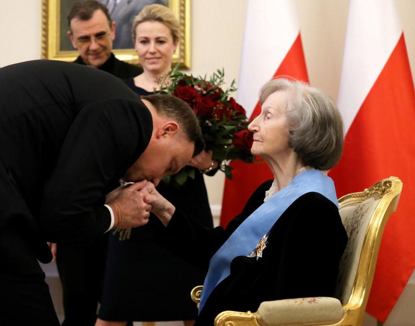 Zofia Posmysz-Piasecka z prezydentem Andrzejem Dudą /Piotr Molecki /East News