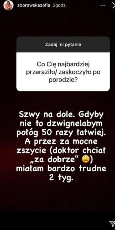 Zofia Zborowska o porodzie. Źródło: Instagram /Instagram