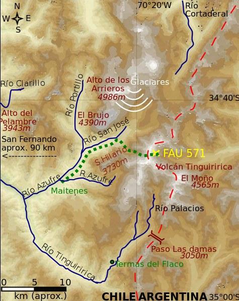 Żółtym krzyżykiem zaznaczone miejsce, w którym spoczął wrak samolotu. Fot: Wikipedia /Internet