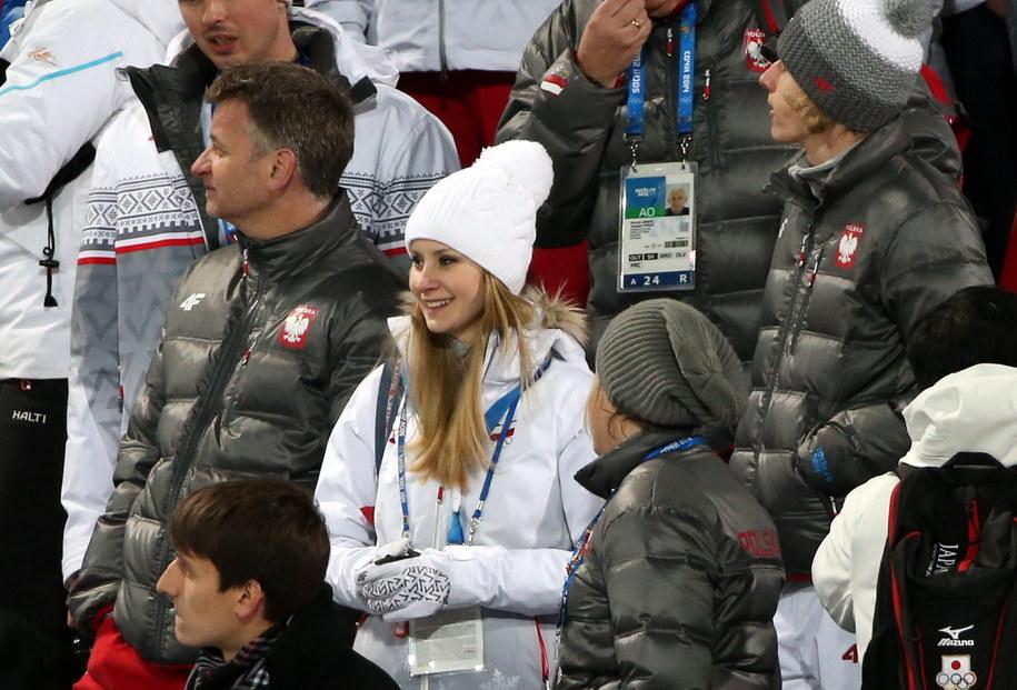 Żona Kamila Stocha, Ewa Bilan-Stoch, na trybunach podczas konkursu na dużej skoczni /Grzegorz Momot /PAP