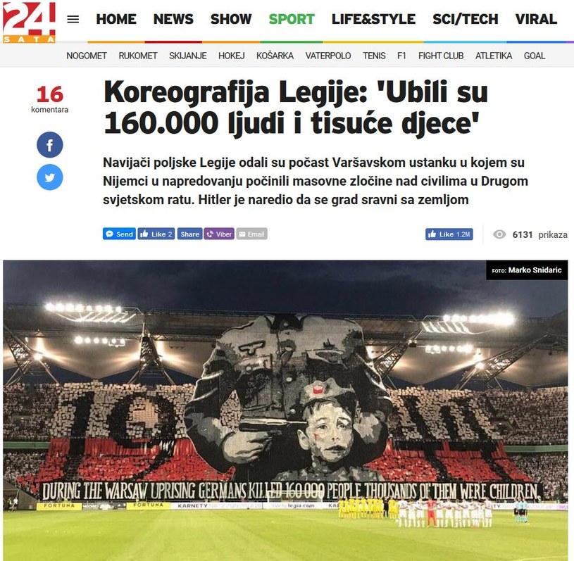 """Zrzut ekranu """"24sata.hr"""" z artykułu poświęconego oprawie Legii /print screen /"""
