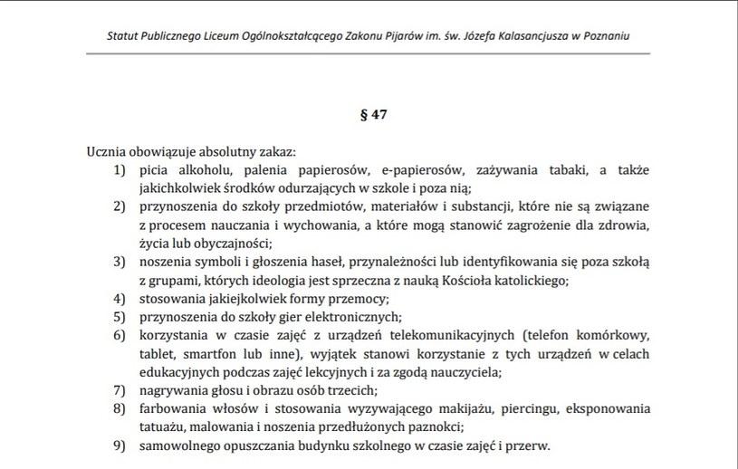 Zrzut ekranu przedstawiający fragment statutu. /archiwum prywatne