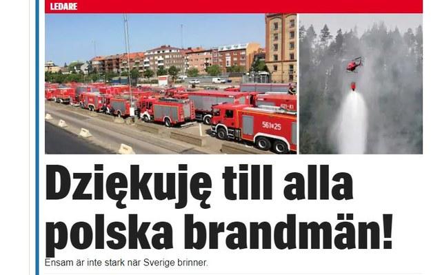 """Zrzut ekranu - tytuł w dzienniku """"Expressen"""" /"""