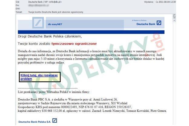 Zrzut ekranu wiadomości phishingowej docierającej do użytkowników /materiały prasowe