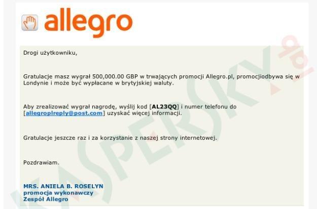 Zrzut ekranu wiadomości phishingowej wysyłanej do użytkowników Allegro /materiały prasowe
